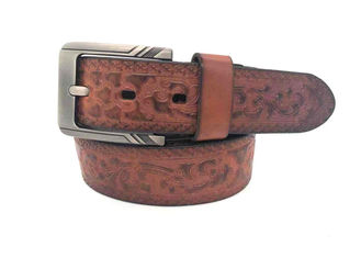 100-140cm Floral Mens Kasual Western Leather Belt Buckle Alloy Persegi 38mm Lebar