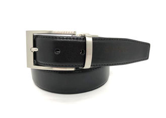 Disesuaikan Mens Black Dress Belt Dengan Zinc Alloy Buckle Gaya Klasik